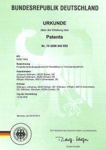 Urkunde über die Erteilung des Patents