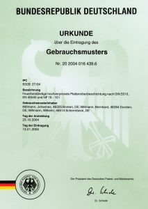 Urkunde über die Eintragung des Gebrauchsmusters