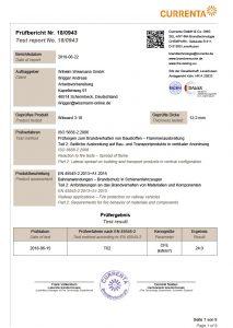 Brandschutz ISO 5658-2-2006 Wiboard 3-10