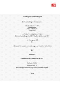 Zertifikat Deutsche Bahn Einstufung Schienenfahrzeugbau