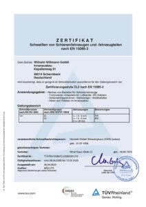 DIN EN 15085-2 Zertifikat